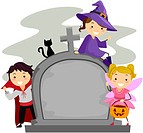 Illustration of Kids Posing Beside a Tombstone_ eps8