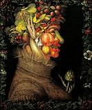 Summer, 1573, by Giuseppe Arcimboldi (1527 ca- 1593), oil on panel, 76x64 cm.  Paris, Musée Du Louvre
