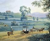 Rural landscape, by Andrei Efimovich Martynov, 1811, Russia 19th century. Detail.  Mosca, Gosudarstvennaja Tretjakowskaja Galerja