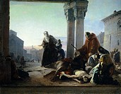 Death of Ricciardino Langosco, by Pasquale Massacra (1819-1849), oil on canvas. 58x73 cm.  Pavia, Musei Civici Del Castello Visconteo, Pinacoteca Mala...