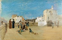 The churchyard, 1875, by Francesco Netti (1832-1894), oil and pencil on canvas, 51x77 cm.  Private Collection