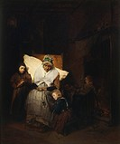 The rosary, 1850, by Domenico Induno (1815-1878), oil on canvas, 82x68 cm.  Milan, Civiche Raccolte D'Arte Civico, Museo D'Arte Contemporanea (Art Gal...