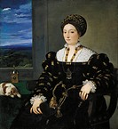 Portrait of Eleonora Gonzaga, Duchess of Urbino, 1538, by Titian (ca 1490-1576), oil on canvas, 114x102 cm  Florence, Galleria Degli Uffizi (Uffizi Ga...
