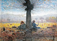 Two shepherds on the fields of Mongini, November, 1901, by Giuseppe Pelizza da Volpedo (1868-1907), oil on canvas.  Turin, Galleria Civica D'Arte Mode...