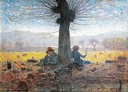 Two shepherds on the fields of Mongini, November, 1901, by Giuseppe Pelizza da Volpedo (1868-1907), oil on canvas.  Turin, Galleria Civica D'Arte Mode...