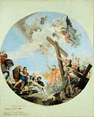 The discovery of the True Cross, 1890, by Lazzaro Luxardo (1865-1949), oil on canvas, 67x56 cm. Copy of a Tiepolo work.  Genoa, Museo Dell'Accademia L...