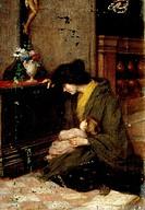 Woman knelt in prayer, 19th century, by Vittorio Tessari (1860-?).  Milano, Quadreria Dell'Ospedale Maggiore