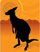 A silhouette of a kangaroo with her joey on a background of the outback with an aboriginal sun.