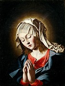 Virgin in prayer, by Giovanni Battista Salvi da Sassoferrato (1609-1685).  Salamanca, Museo Provincial De Bellas Artes (Art Museum)