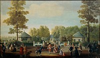 Mariano Ramon Sanchez (1740-1822), attributed to. Small square in the Prince's Garden at Aranjuez Castle South of Madrid.  Salamanca, Museo Provincial...