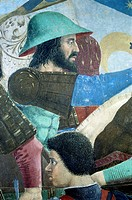 The Battle of Heraclius I of Byzantium against Chosroes II, detail from the Legend of the True Cross, 1452-1466, by Piero della Francesca (1415/20-149...