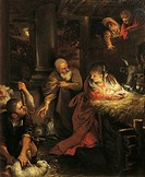 Adoration of the Shepherds, attributed to Annibale Carracci (1560-1609), oil on canvas, 85x63 cm.  Rome, Galleria Nazionale D'Arte Antica Di Palazzo B...
