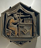 Jubal, Father of Players Upon the Harp and Organ, 1334-1336, by Nino Pisano (ca 1315-ca 1368), marble tile.  Florence, Museo Dell'Opera Di Santa Maria...