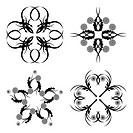 vector illustration of a set of floral ornament