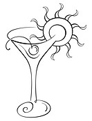 Symbol of drink with cherry on sketch
