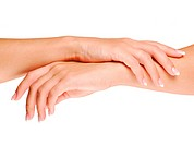 Beauty treatment of female hands with clean skin