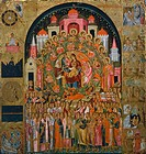 The Glorification of the Virgin (In you all of creation is united), by Franghias Kavertzas, ca 1640, Icon.  Private Collection