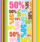 colorful with 50 percent discount text background. vector