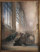 King Victor Emmanuel II, Cavour, Ministers and the Court going down staircase in Senate in Turin, after opening speech at Sub_Alpine Parliament, 1853