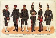 Japan, 19th century, Sino-Japanese War - Uniforms of the Japanese army. Engraving, Leipzig, 1895.  Paris, Bibliothèque Nationale De France (Library)