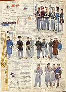 Militaria, Italy, 19th century. Uniforms and badges of the Kingdom of Italy, 1860. Color plate by Quinto Cenni.  Roma, Archivio Dell'Ufficio Storico D...