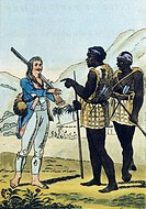 The explorer Damberger in Caffraria (South-West Africa), 1801, engraving from Travel by Damberger.  Parigi, Societe De Geographie