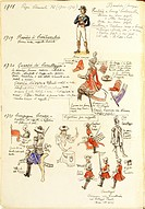 Militaria, Italy, 18th century. Uniforms of the Papal States army at the time of Pope Clement XI, 1700-1721. Color plate by Quinto Cenni.  Roma, Archi...