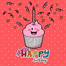 Pink strawberry cupcake with one candle to celebrate first year birthday
