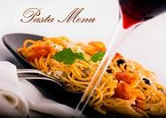 Pasta and wine shot suitable for restaurant menu