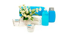 blue spa with jasmine on white background