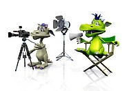 A cartoon monster sitting in a directors chair and another mouse filming. White background.