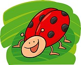 cartoon illustration of funny ladybug