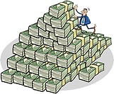Illustration of businessman climbing on mountain of money