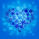 Christmas Snowflakes Heart Shape on Blue Blurred Background Illustration