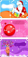 vector illustration of a christmas card set