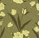 Repeating Pattern with Roses and Tulips