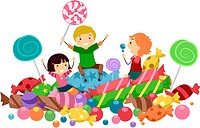 Illustration of Kids Surrounded by Candies _ eps8
