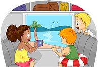 Illustration of Kids Going on a Trip to the Beach _ eps8