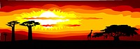Abstract illustration of the sunset in Africa _ vector