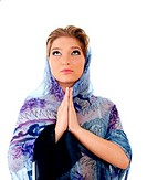 Young christian woman pray isolated over white background