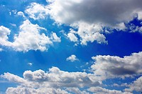 Blue sky with white clouds, beautiful background, photo