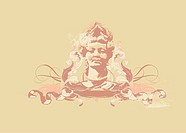 womans bust with heraldic ornament on grunge background.vector illustration