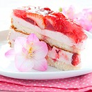 fresh strawberry cream cake with blossom