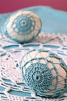 Easter eggs with beautiful blue crochet decoration