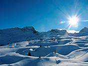 snow covered alpine vista