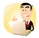 Vector illustration of a happy businessman having found something on the net with his laptop. Vector eps and high resolution jpeg files included in th...