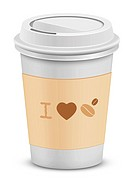 I love coffee. Plastic coffee cups with lid. Vector illustration.