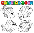 Coloring book with striped fishes _ thematic illustration.