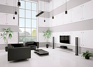 Living room with black sofa, armchair and lcd interior 3d render