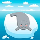 Cute seal happy resting on floating iceberg